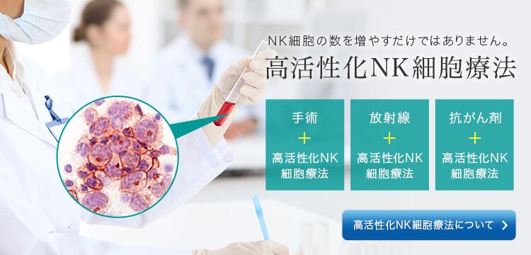 NK細胞の数を増やすだけではありません。 高活性NK細胞療法 手術+高活性NK細胞療法 放射線+高活性NK細胞療法 抗がん剤+高活性NK細胞療法 高活性化NK細胞療法について