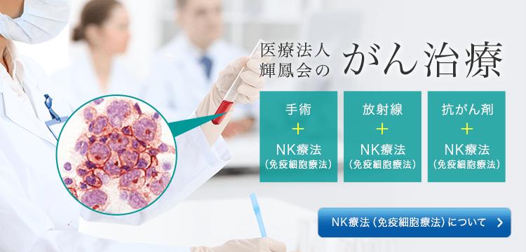 医療法人輝鳳会のがん治療 手術+NK療法(免疫細胞療法) 放射線+NK療法(免疫細胞療法) 抗がん剤+NK療法(免疫細胞療法) NK療法(免疫細胞療法)について